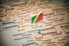 Congo marked with a flag on the map.  stock images