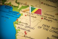 Congo marked with a flag on the map.  royalty free stock photos