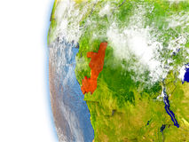 Congo on model of Earth Stock Photography