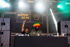 Congo Natty feat. Congo Dubz, Tenor Fly, Nanci and Phoebe perform in a concert at Sonar Festival. BARCELONA - JUN 17: Congo Natty feat. Congo Dubz, Tenor Fly Stock Photography