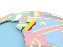 Flag of Congo on bright globe. Congo on political globe with embedded flags. 3D illustration Royalty Free Stock Photography