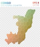 Congo polygonal map, mosaic style country. Ecstatic low poly style, modern design. Congo polygonal map for infographics or presentation Stock Photos