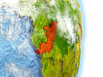 Congo in red on Earth Stock Photos