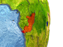 Congo in red on Earth Royalty Free Stock Photos