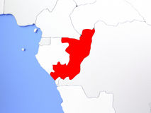 Congo in red on map Royalty Free Stock Photo