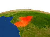 Congo in red from orbit Stock Image