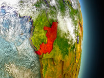 Congo in red from space Royalty Free Stock Photo