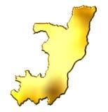 Congo Republic of 3d Golden Map Stock Photography