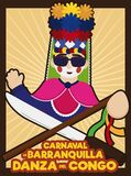 Congo`s Dancer with Machete and Stick Ready for Barranquilla`s Carnival, Vector Illustration vector illustration