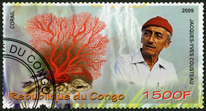CONGO - 2009: shows coral and Jacques Cousteau (1910-1997). CONGO - CIRCA 2009: A stamp printed in Congo shows coral and Jacques Cousteau (1910-1997), circa 2009 royalty free stock photos