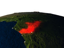 Congo from space at night Stock Photo