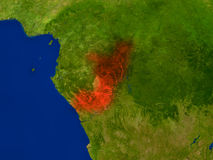 Congo from space in red Stock Image