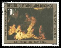 Painting The Burial by Rembrandt. Congo - stamp 1980: Color edition on Art, shows Painting The Burial by Rembrandt Royalty Free Stock Images