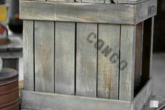 Congo wooden crate Royalty Free Stock Photo
