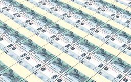 Congolese francs bills stacked background. Stock Photos
