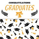 Congratlations graduates banner design with cap and bells. Silhouettes style. Vector illustration Stock Images