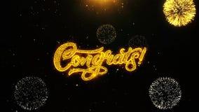 Congrats życzy powitanie kartę, zaproszenie, świętowanie fajerwerk zapętlający zdjęcie wideo