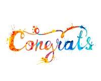 congrats Написанная рукой надпись doodle краски выплеска иллюстрация вектора
