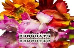 Congrats с цветками Стоковое Изображение RF