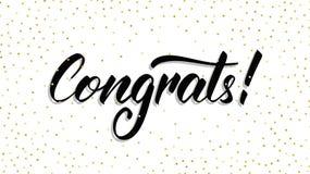 congrats 与圆点五彩纸屑的现代handlettering的Congrats 8个看板卡eps文件招呼的包括的模板 免版税库存照片