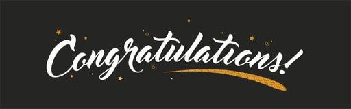 Congrats, bandeira das felicitações com decoração do brilho Escova moderna escrita à mão que rotula o fundo escuro Vetor ilustração do vetor