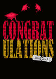Congrats for  class of 2013. Red graduation caps with diploma on black background Stock Photography