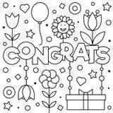 Coloring page. Vector illustration. Congrats. Coloring page. Black and white vector illustration Royalty Free Stock Photos