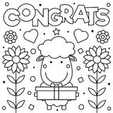 Coloring page. Vector illustration. Congrats. Coloring page. Black and white vector illustration Royalty Free Stock Image