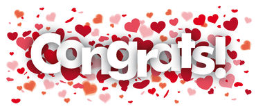 Congrats Confetti Hearts Stock Photo