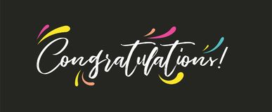 Congrats, Congratulations banner. Handwritten modern brush lettering dark background isolated vector Stock Photos