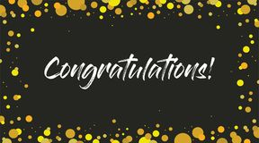Congrats, Congratulations banner. Handwritten modern brush lettering dark background isolated vector Stock Images