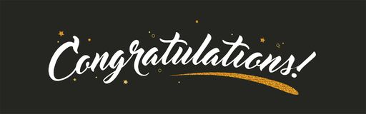 Free Congrats, Congratulations Banner With Glitter Decoration. Handwritten Modern Brush Lettering Dark Background. Vector Stock Photography - 117205682