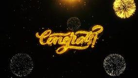 Congrats desea la tarjeta de felicitaciones, invitación, fuego artificial de la celebración colocado