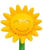 Congrats gåva: solrosuppblåsbarplast- stock illustrationer