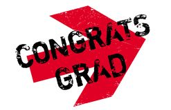 Congrats Grad rubber stamp. Grunge design with dust scratches. Effects can be easily removed for a clean, crisp look. Color is easily changed Stock Photography