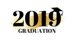 Congrats graduates, class of 2019. Graduation party banner with gold background and graduation hat. Vector design logo for vector illustration
