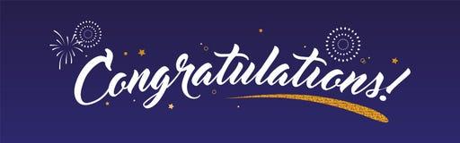Congrats, gratulacje sztandar z błyskotliwość fajerwerkami i dekoracją Ręcznie pisany nowożytny szczotkarski literowanie zmrok ilustracji