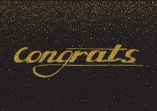 Congrats - hand dragen bokstäver, modern borstepennkalligrafi w Royaltyfri Fotografi