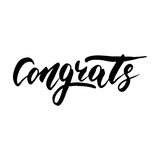 Congrats - hand drawn lettering, modern brush pen calligraphy. Isolated on a white background stock illustration