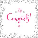 Congrats hand written lettering for congratulations card, greeti Royalty Free Stock Image