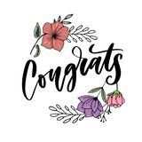 Congrats hand written lettering for congratulations card, greeting card, invitation, and print. Isolated on background. Slogan. Congrats hand written lettering royalty free illustration