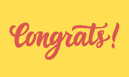 Congrats! Hand written lettering Royalty Free Stock Photography