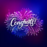 Congrats hand written lettering text. With colorful fireworks and celebration background. Modern brush calligraphy for greeting card, poster. Vector stock illustration