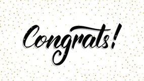 congrats Congrats handlettering moderne avec des confettis de point de polka Descripteur de carte de voeux illustration libre de droits