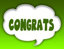 CONGRATS message on speech cloud graphic. Green background. royalty free illustration