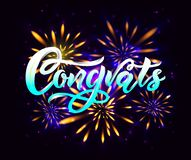 Congrats modern calligraphy hand lettering on black background with fireworks. Vector. Congrats hand calligraphy lettering inscription on black background with vector illustration