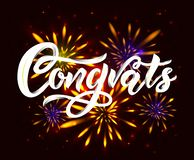Congrats modern calligraphy hand lettering on black background with fireworks. Vector. Congrats hand calligraphy lettering inscription on black background with royalty free illustration
