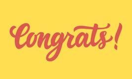 Congrats! Ręka pisać literowanie Fotografia Royalty Free