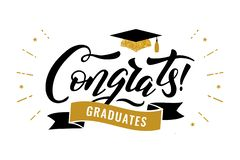 Congrats reçoit un diplôme la classe de la partie 2019 de félicitation d'obtention du diplôme illustration libre de droits