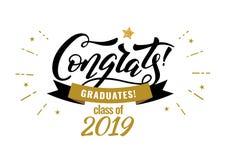 Congrats reçoit un diplôme la classe de la partie 2019 de félicitation d'obtention du diplôme illustration de vecteur